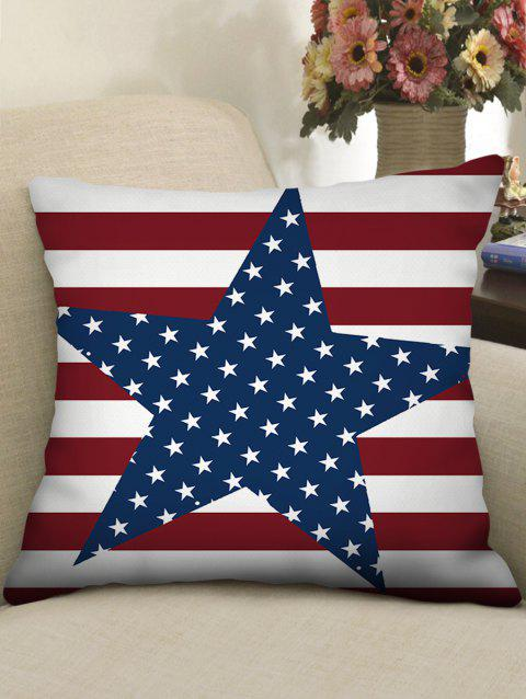 Stripes and Stars Print Linen Sofa Pillowcase - multicolor W18 INCH * L18 INCH
