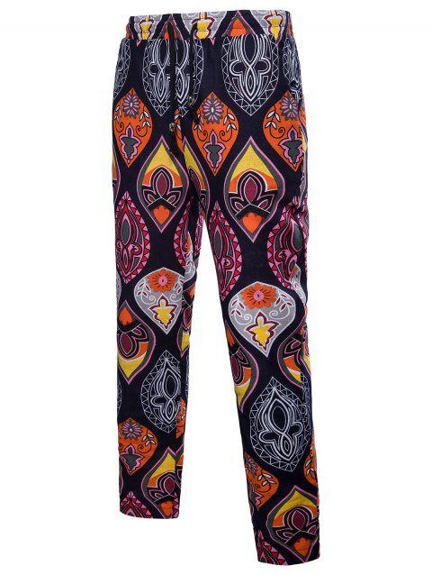 Elastic Waist Ethnic Style Flower Pattern Casual Pants - multicolor 5XL