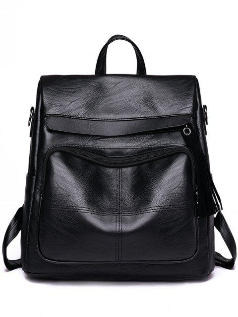 Outdoor Travel Casual Faxu Leather Backpack - BLACK