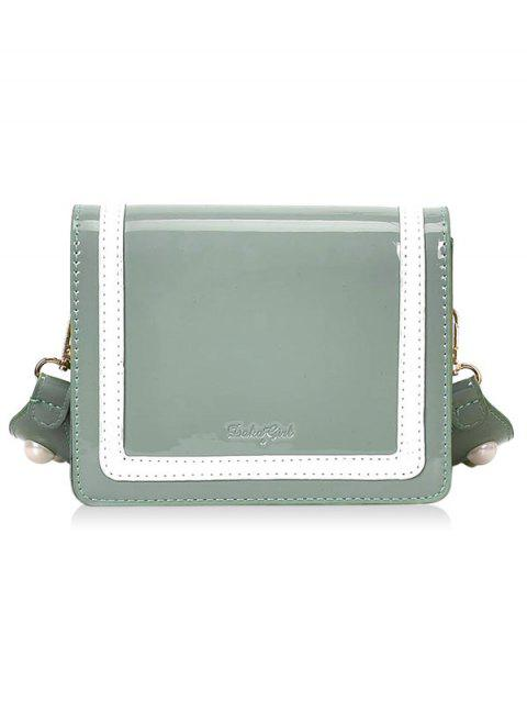 Patent Leather Stripe Two Tone Crossbody Bag - LIGHT JADE