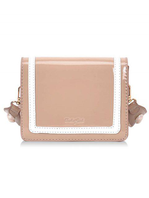 Patent Leather Stripe Two Tone Crossbody Bag - PINK