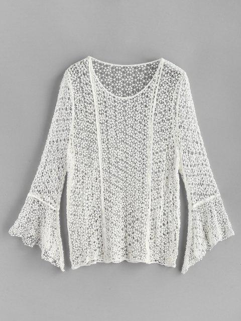 Crochet Long Sleeve Top - WHITE ONE SIZE