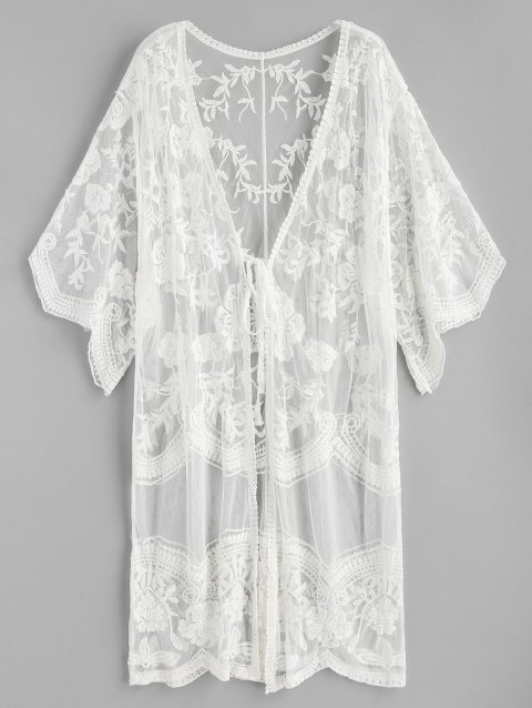 Floral Embroidered Tie Sheer Kimono - WHITE ONE SIZE