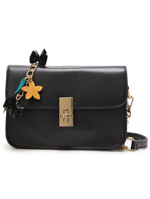 Star Embellished PU Leather Flap Chain Crossbody Bag - BLACK