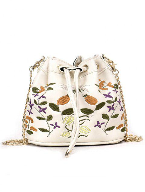 Chic Flower Embroidery String Crossbody Bag - WHITE