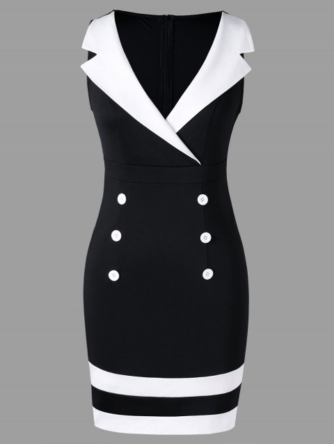 Notched Collar Sleeveless Double Breasted Dress - WHITE/BLACK 2XL