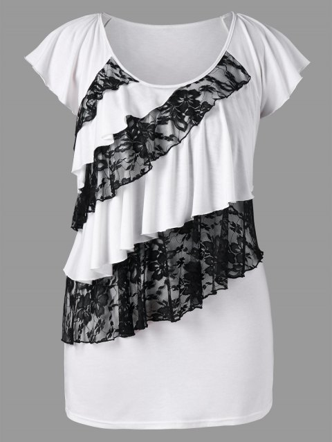 a55367d8a3f7 41% OFF  2019 Lace Flounce Trim Plus Size Short Sleeve T-shirt In ...