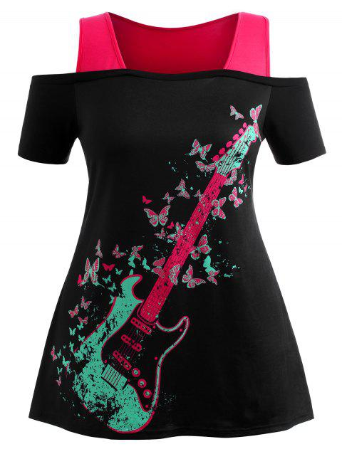 Plus Size Butterfly Guitar Print Cutout T-shirt - DIMORPHOTHECA MAGENTA 1X