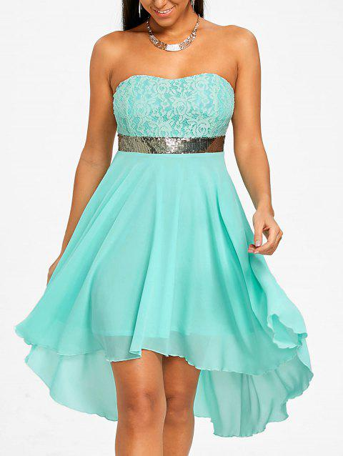 Sequined Waist Chiffon Bandeau Dress - ELECTRIC BLUE S