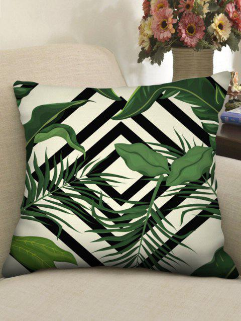 Tropical Leaves Print Linen Sofa Pillowcase - multicolor W18 INCH * L18 INCH