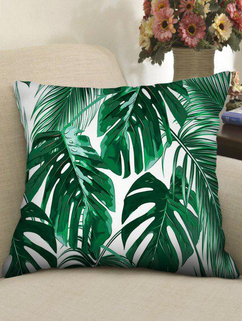 Palm Leaves Print Linen Sofa Pillowcase - GREEN W18 INCH * L18 INCH