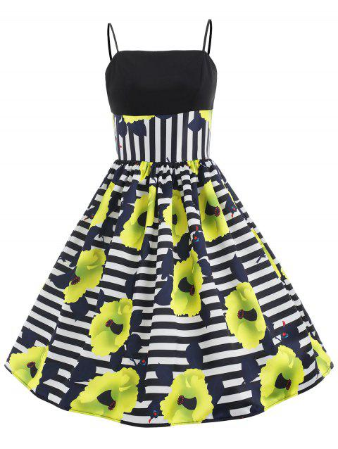 Striped and Floral Print A Line Dress - multicolor S