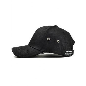 Unique Numbers Label Adjustable Baseball Cap - BLACK