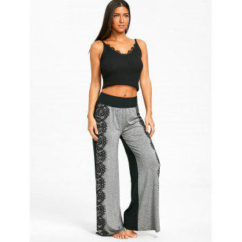 Lace Printed High Waist Wide Leg Pants - LIGHT GREY S