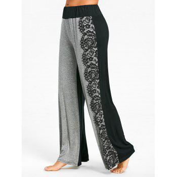 Lace Printed High Waist Wide Leg Pants - LIGHT GREY L