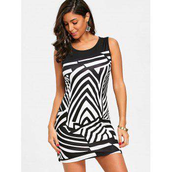 Abstract Geometric Printed Straight Dress - BLACK S