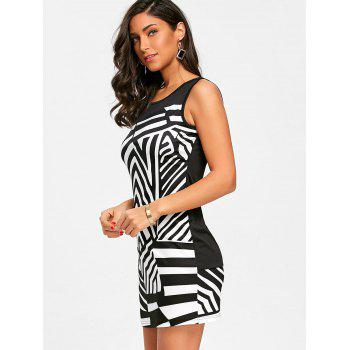Abstract Geometric Printed Straight Dress - BLACK L