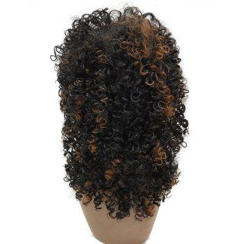 Long Inclined Bang Colormix Curly Synthetic Wig - multicolor