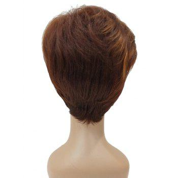 Short Inclined Fringe Straight Synthetic Wig - multicolor