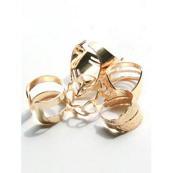 Simple Metal Feather Heart Cuff Circle Ring Set - GOLD