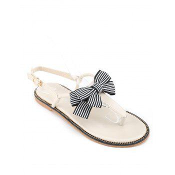 Bowknot T Strap PU Leather Flat Heel Sandals - WHITE 41