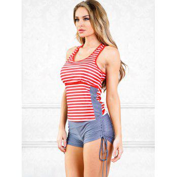 Open Back Boyleg Tankini Swimsuit - multicolor A M