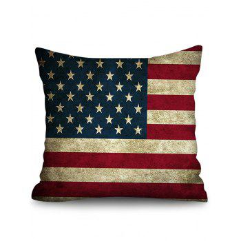 American Flag Print Linen Sofa Pillowcase - multicolor W18 INCH * L18 INCH