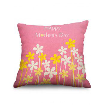 Floral Print Mother's Day Linen Sofa Pillowcase - LIGHT PINK W18 INCH * L18 INCH