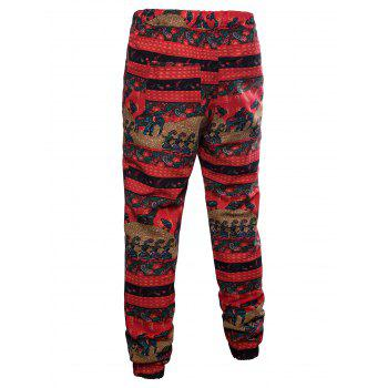 Sport Drawstring Ethnic Elephant Striped Print Sweatpants - multicolor 4XL