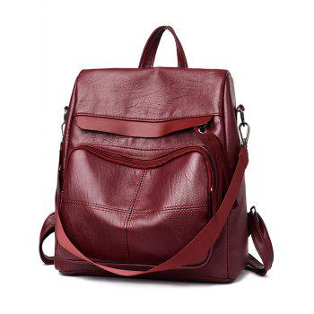Outdoor Travel Casual Faxu Leather Backpack - RED WINE