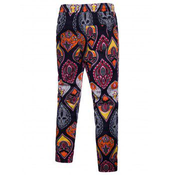 Elastic Waist Ethnic Style Flower Pattern Casual Pants - multicolor L