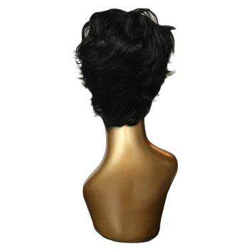 Short Oblique Bang Slightly Curly Synthetic Wig - BLACK