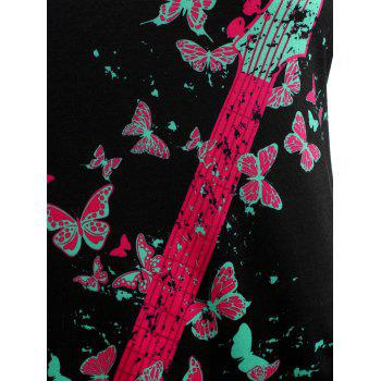 Plus Size Butterfly Guitar Print Cutout T-shirt - DIMORPHOTHECA MAGENTA 4X