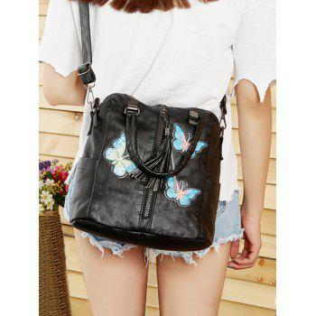 Butterfly Embroidery Soft PU Leather Zipper Crossbody Bag - BLACK