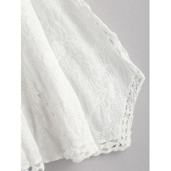 Embroidered Hollow Out Batwing Kimono - WHITE ONE SIZE