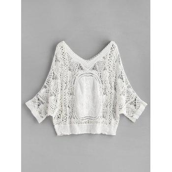 V Neck Batwing Crochet Top - WHITE ONE SIZE