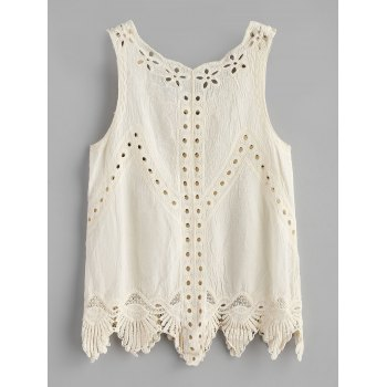 Eyelet Scalloped Trim Tank Top - WARM WHITE ONE SIZE