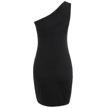 Sleeveless One Shoulder Bodycon Dress - BLACK L