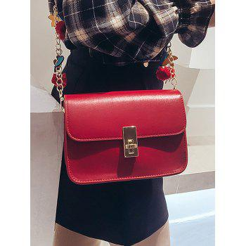Star Embellished PU Leather Flap Chain Crossbody Bag - RED