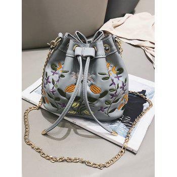 Chic Flower Embroidery String Crossbody Bag - BLUE GRAY