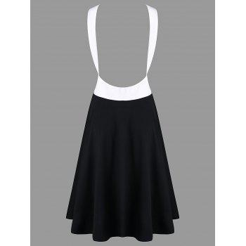 Color Contrast Open Back Casual Dress - BLACK XL