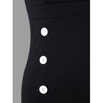 Notched Collar Sleeveless Double Breasted Dress - WHITE/BLACK L