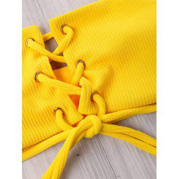 Lace Up High Cut Bandeau Bikini Set - YELLOW M