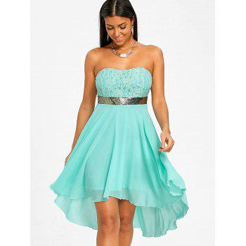 Sequined Waist Chiffon Bandeau Dress - ELECTRIC BLUE M