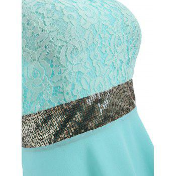 Sequined Waist Chiffon Bandeau Dress - ELECTRIC BLUE 2XL