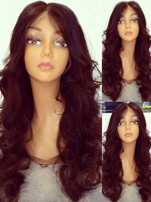 Long Middle Part Wavy Party Synthetic Wig - RED WINE