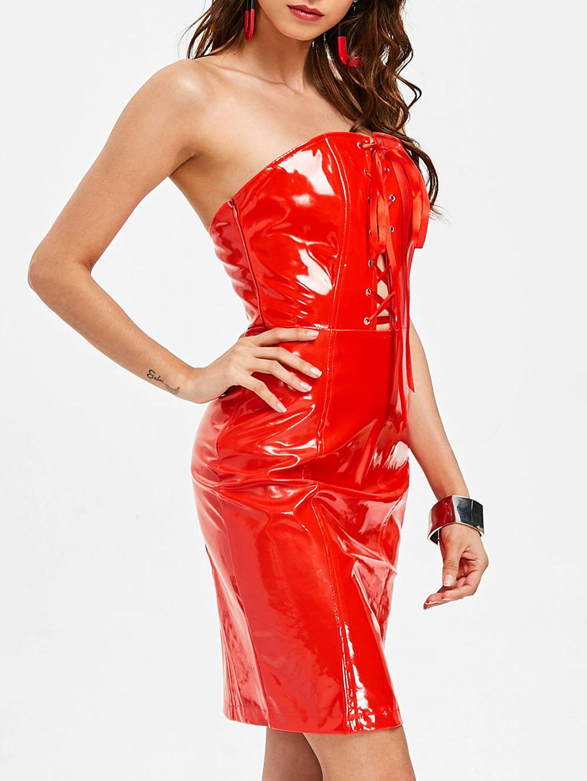 Faux Leather Strapless Bodycon Dress - RED L