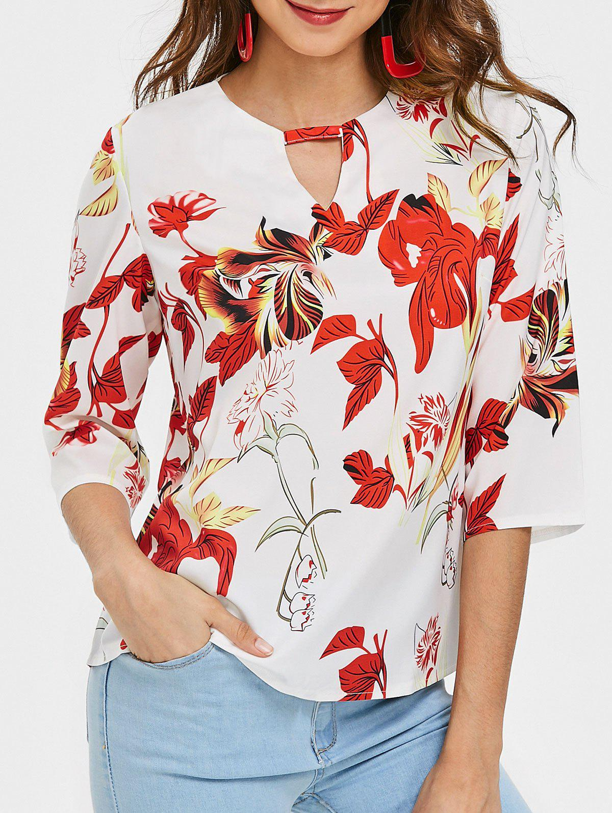V Cut Out Floral Print Blouse - COLORMIX M