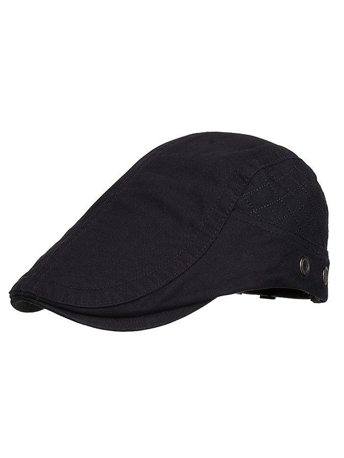Plaid Embroidery Adjustable Newsboy Cap - BLACK