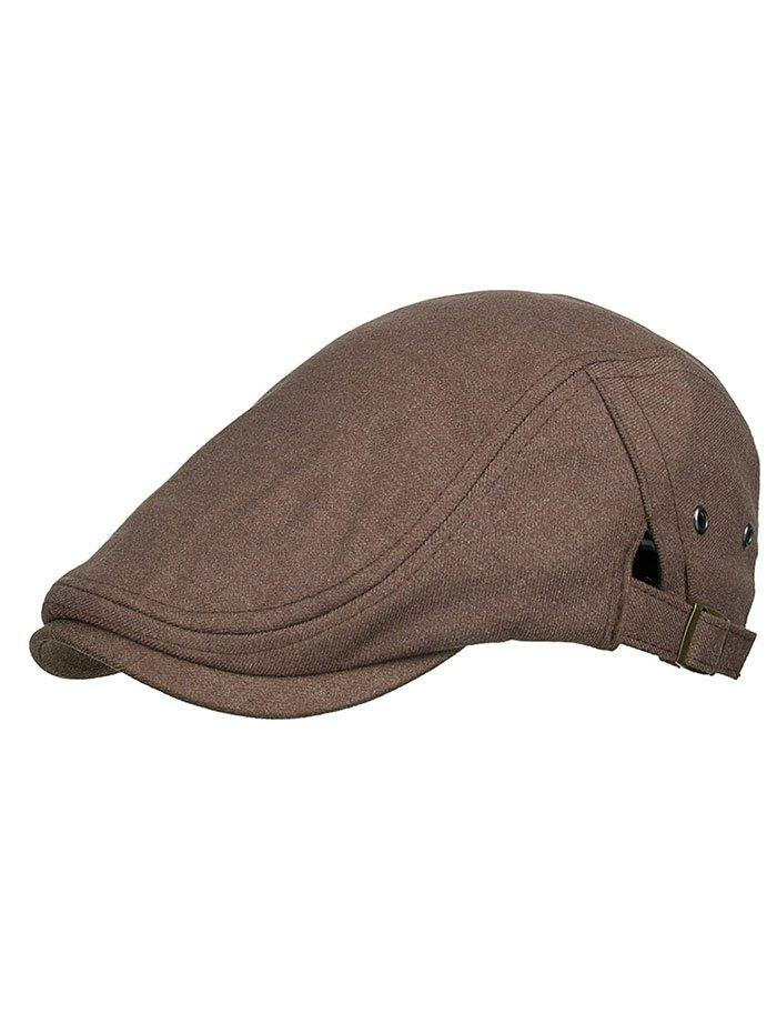 Outdoor Solid Color Breathable Newsboy Cap - COFFEE
